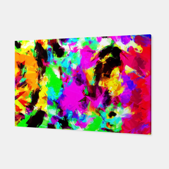 Miniatur psychedelic geometric pattern painting abstract background in pink red blue green yellow orange Canvas, Live Heroes