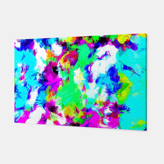 Miniatur psychedelic geometric pattern painting abstract background in blue green pink yellow Canvas, Live Heroes