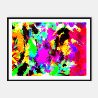 Miniatur psychedelic geometric pattern painting abstract background in pink red blue green yellow orange Framed poster, Live Heroes