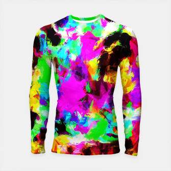 Thumbnail image of psychedelic geometric pattern painting abstract background in pink red blue green yellow orange Longsleeve Rashguard , Live Heroes