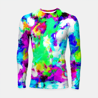 Thumbnail image of psychedelic geometric pattern painting abstract background in blue green pink yellow Longsleeve Rashguard , Live Heroes