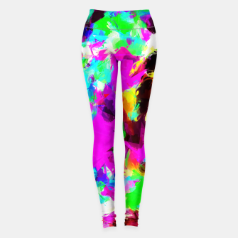 Thumbnail image of psychedelic geometric pattern painting abstract background in pink red blue green yellow orange Leggings, Live Heroes