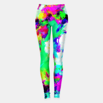 Thumbnail image of psychedelic geometric pattern painting abstract background in blue green pink yellow Leggings, Live Heroes
