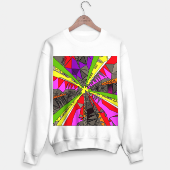 Miniatur psychedelic geometric pattern drawing abstract background in red pink green yellow Sweater regular, Live Heroes