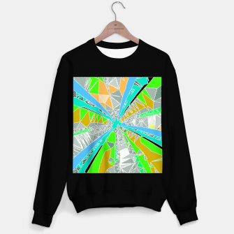 Miniatur psychedelic geometric pattern drawing abstract background in blue green yellow brown Sweater regular, Live Heroes