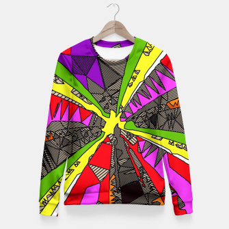 Miniatur psychedelic geometric pattern drawing abstract background in red pink green yellow Fitted Waist Sweater, Live Heroes