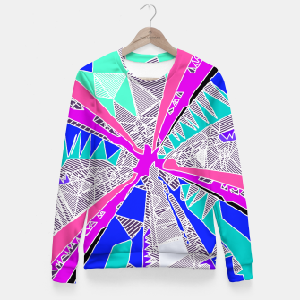 Miniatur psychedelic geometric pattern drawing abstract background in blue pink purple Fitted Waist Sweater, Live Heroes