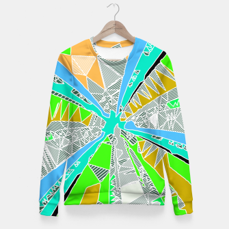 Miniatur psychedelic geometric pattern drawing abstract background in blue green yellow brown Fitted Waist Sweater, Live Heroes