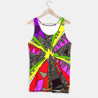 Imagen en miniatura de psychedelic geometric pattern drawing abstract background in red pink green yellow Tank Top, Live Heroes