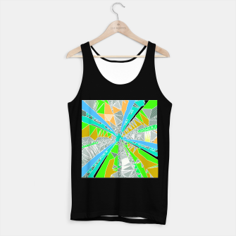Miniatur psychedelic geometric pattern drawing abstract background in blue green yellow brown Tank Top regular, Live Heroes