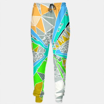 Miniaturka psychedelic geometric pattern drawing abstract background in blue green yellow brown Sweatpants, Live Heroes