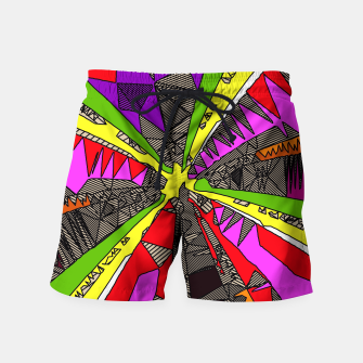 Miniaturka psychedelic geometric pattern drawing abstract background in red pink green yellow Swim Shorts, Live Heroes