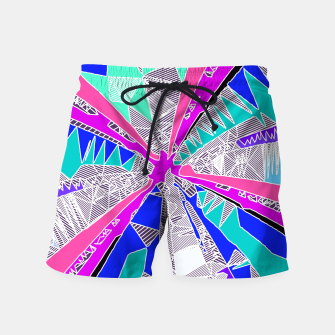 Miniaturka psychedelic geometric pattern drawing abstract background in blue pink purple Swim Shorts, Live Heroes