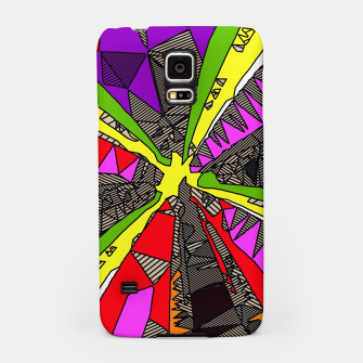 Miniatur psychedelic geometric pattern drawing abstract background in red pink green yellow Samsung Case, Live Heroes