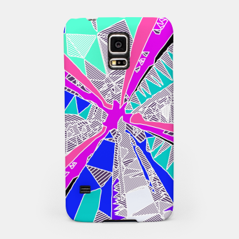 Miniatur psychedelic geometric pattern drawing abstract background in blue pink purple Samsung Case, Live Heroes