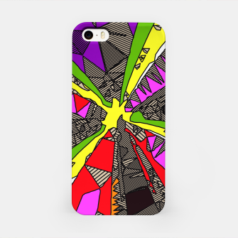 Miniaturka psychedelic geometric pattern drawing abstract background in red pink green yellow iPhone Case, Live Heroes