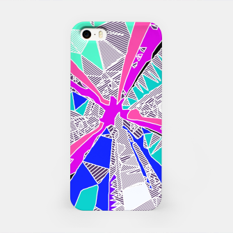 Thumbnail image of psychedelic geometric pattern drawing abstract background in blue pink purple iPhone Case, Live Heroes