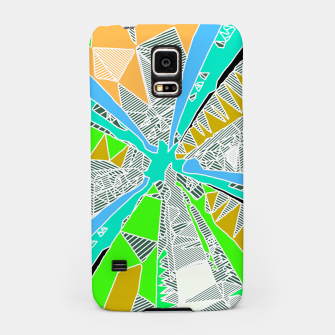 Miniatur psychedelic geometric pattern drawing abstract background in blue green yellow brown Samsung Case, Live Heroes