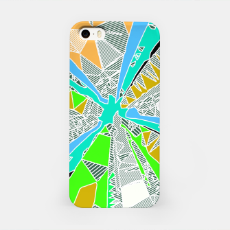 Thumbnail image of psychedelic geometric pattern drawing abstract background in blue green yellow brown iPhone Case, Live Heroes