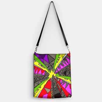 Miniatur psychedelic geometric pattern drawing abstract background in red pink green yellow Handbag, Live Heroes