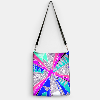 Miniatur psychedelic geometric pattern drawing abstract background in blue pink purple Handbag, Live Heroes