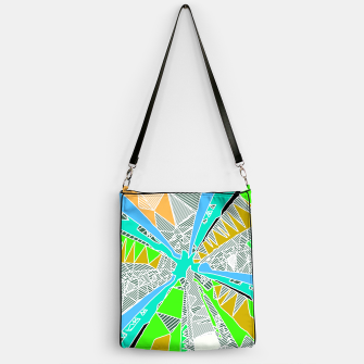 Miniatur psychedelic geometric pattern drawing abstract background in blue green yellow brown Handbag, Live Heroes