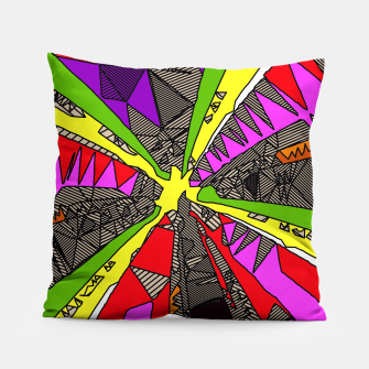 Miniatur psychedelic geometric pattern drawing abstract background in red pink green yellow Pillow, Live Heroes