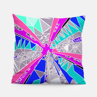 Miniatur psychedelic geometric pattern drawing abstract background in blue pink purple Pillow, Live Heroes