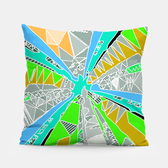 Miniatur psychedelic geometric pattern drawing abstract background in blue green yellow brown Pillow, Live Heroes