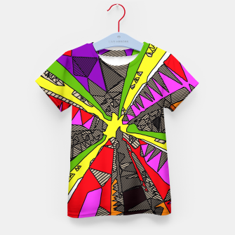 Miniatur psychedelic geometric pattern drawing abstract background in red pink green yellow Kid's T-shirt, Live Heroes