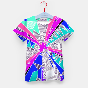 Miniatur psychedelic geometric pattern drawing abstract background in blue pink purple Kid's T-shirt, Live Heroes