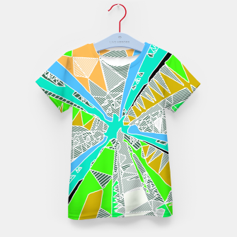Miniatur psychedelic geometric pattern drawing abstract background in blue green yellow brown Kid's T-shirt, Live Heroes