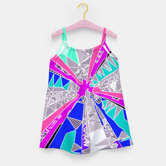 Miniatur psychedelic geometric pattern drawing abstract background in blue pink purple Girl's Dress, Live Heroes