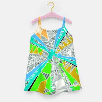 Miniatur psychedelic geometric pattern drawing abstract background in blue green yellow brown Girl's Dress, Live Heroes