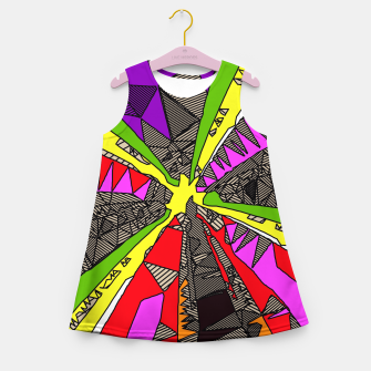 Thumbnail image of psychedelic geometric pattern drawing abstract background in red pink green yellow Girl's Summer Dress, Live Heroes