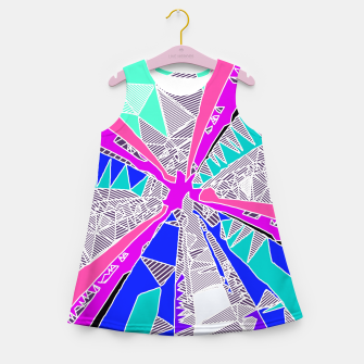 Thumbnail image of psychedelic geometric pattern drawing abstract background in blue pink purple Girl's Summer Dress, Live Heroes