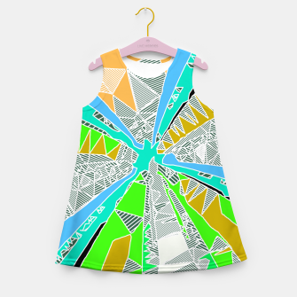 Miniatur psychedelic geometric pattern drawing abstract background in blue green yellow brown Girl's Summer Dress, Live Heroes