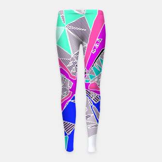 Miniatur psychedelic geometric pattern drawing abstract background in blue pink purple Girl's Leggings, Live Heroes