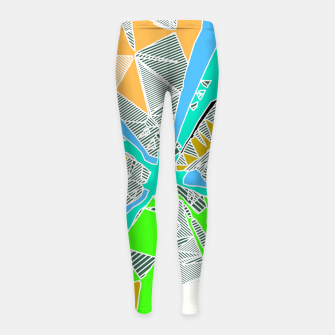 Miniatur psychedelic geometric pattern drawing abstract background in blue green yellow brown Girl's Leggings, Live Heroes