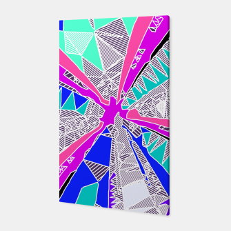 Miniatur psychedelic geometric pattern drawing abstract background in blue pink purple Canvas, Live Heroes