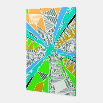 Miniatur psychedelic geometric pattern drawing abstract background in blue green yellow brown Canvas, Live Heroes