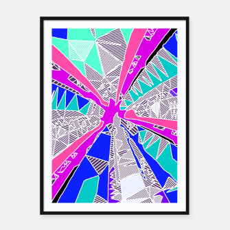 Miniatur psychedelic geometric pattern drawing abstract background in blue pink purple Framed poster, Live Heroes