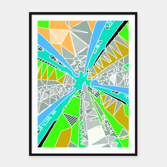 Miniatur psychedelic geometric pattern drawing abstract background in blue green yellow brown Framed poster, Live Heroes