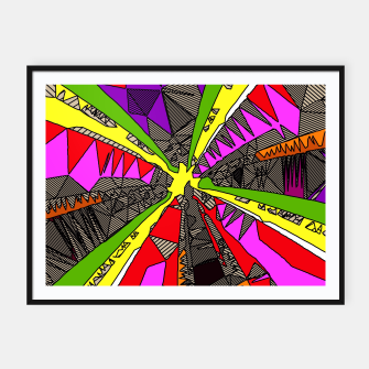 Miniatur psychedelic geometric pattern drawing abstract background in red pink green yellow Framed poster, Live Heroes