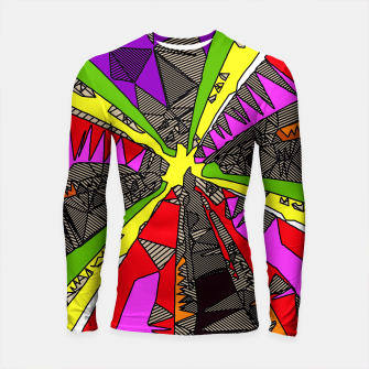 Thumbnail image of psychedelic geometric pattern drawing abstract background in red pink green yellow Longsleeve Rashguard , Live Heroes