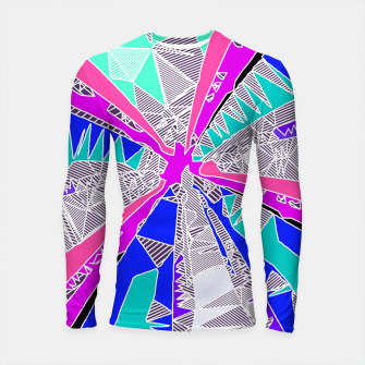 Thumbnail image of psychedelic geometric pattern drawing abstract background in blue pink purple Longsleeve Rashguard , Live Heroes