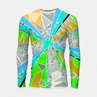 Thumbnail image of psychedelic geometric pattern drawing abstract background in blue green yellow brown Longsleeve Rashguard , Live Heroes