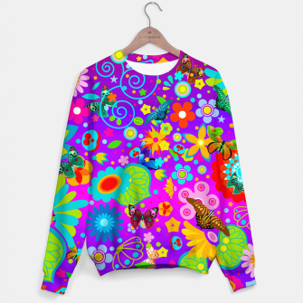 Thumbnail image of Abstract Flowers with Butterflies Sweater, Live Heroes