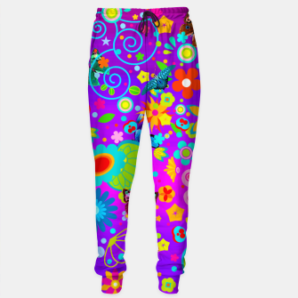 Thumbnail image of Abstract Flowers with Butterflies Sweatpants, Live Heroes