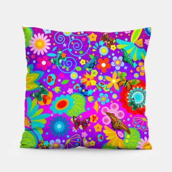 Thumbnail image of Abstract Flowers with Butterflies Pillow, Live Heroes